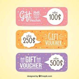 Chèques cadeaux mignons dans des couleurs pastel