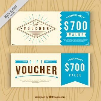 Chèques cadeaux vintage avec des détails bleus