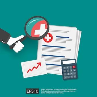 Cher grandissant concept de coût de la médecine de la santé. dépenses ou dépenses de santé. document de presse-papiers médical avec argent et calculatrice. illustration design plat.