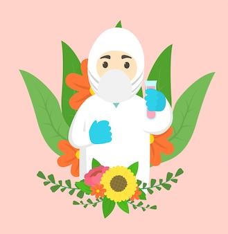 Chercheur de coronavirus pandémie d'alchimiste de vaccin merci avec fond floral