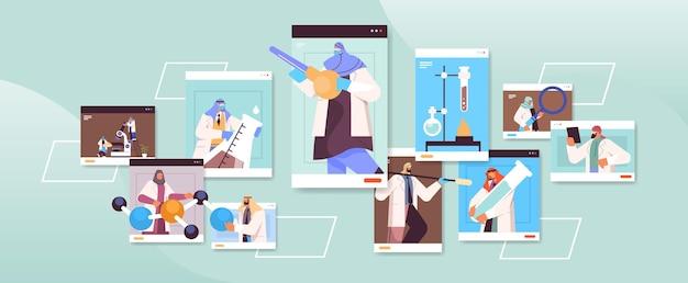 Chercheurs arabes travaillant avec des tubes à essai dans des fenêtres de navigateur web scientifiques arabes faisant des expériences chimiques en laboratoire concept d'ingénierie moléculaire illustration vectorielle horizontale