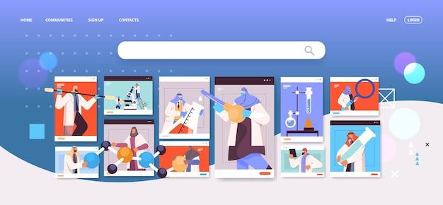 Chercheurs arabes travaillant avec des tubes à essai dans des fenêtres de navigateur web scientifiques arabes faisant des expériences chimiques en laboratoire concept d'ingénierie moléculaire portrait horizontal illustration vectorielle