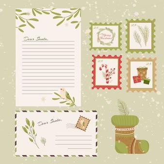 Chère lettre du père noël. carte postale avec timbres et marque.