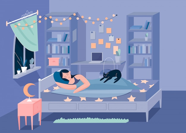 Chérie, dormir, girl, et, chaton, dans, caractère chambre, plat, vecteur, illustration, concept