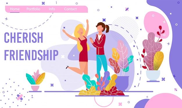 Cherish friendship motivational flat landing page