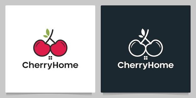 Cherry fruit home immobilier isolé fond noir et blanc