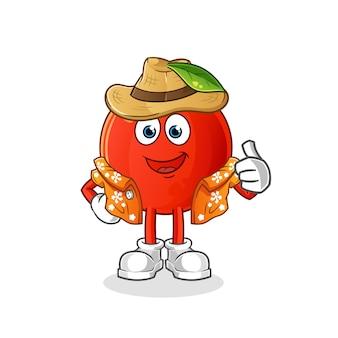 Cherry va en vacances. mascotte de dessin animé