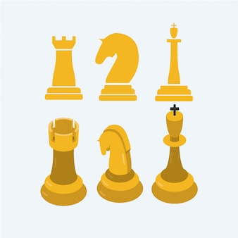 Chess rook 2d to 3d, chevalier, roi