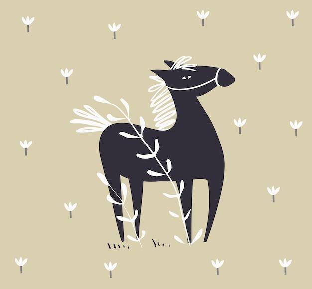 Cheval abstrait sauvage sur le terrain avec des fleurs de style scandinave design de cheval dessiné à la main monochrome