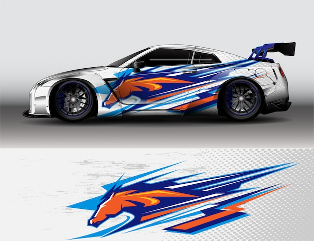 Cheval animal abstrait autocollant vinyle voiture fond