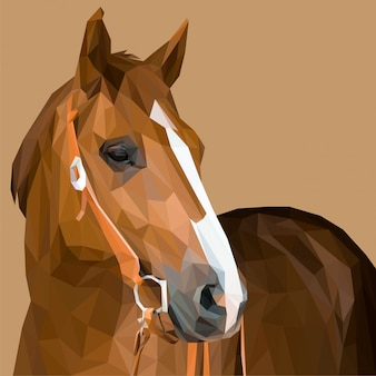 Cheval brun, art lowpoly