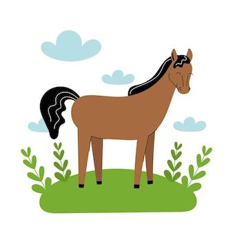 Cheval brun mignon se dresse dans un pré. animaux de ferme de dessin animé, agriculture, rustique. illustration vectorielle simple à plat sur fond blanc avec des nuages bleus et de l'herbe verte.