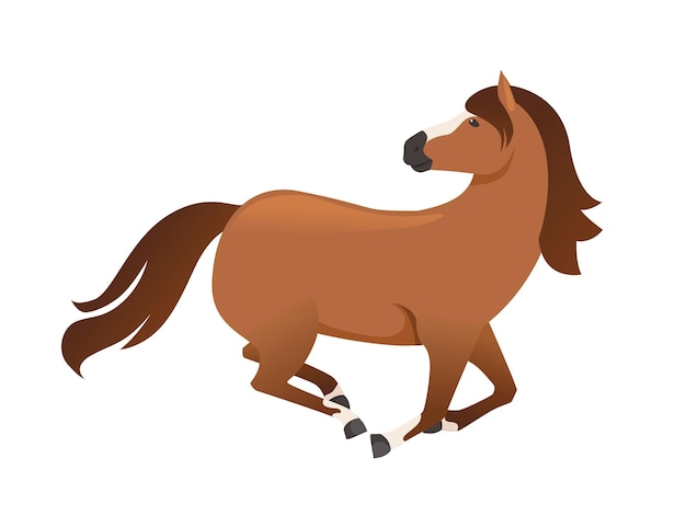 Cheval brun sauvage ou animal domestique courant avec la tête regarde en arrière illustration vectorielle de dessin animé