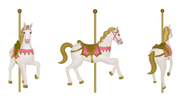 Cheval de carrousel isolé blanc. vue latérale, avant et arrière