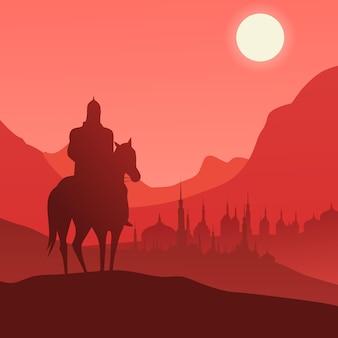 Cheval de chevalier arabe dans le concept de silhouette avec fond plat et beau coucher de soleil adapté au personnage de chevalier d'animation sur la guerre contre l'océan et la collection de fond plat. conception de vecteur eps 10