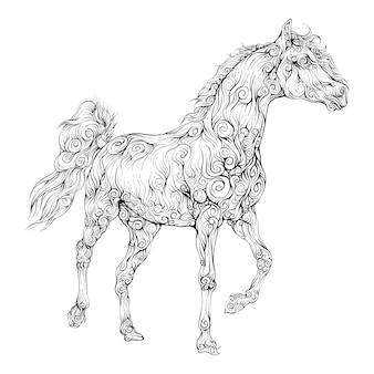 Cheval dessiné à la main