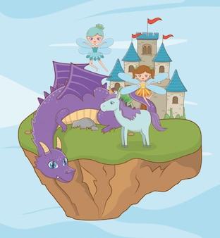 Cheval dragon et fée de la conception de conte de fées