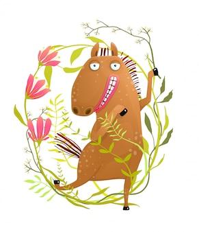 Cheval drôle en dessin animé de fleurs