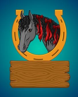 Cheval avec un fer à cheval et un panneau en bois