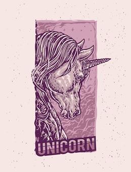 Le cheval de licorne fantaisie avec une illustration de style dessin animé