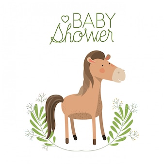 Cheval mignon avec carte de douche de bébé guirlande