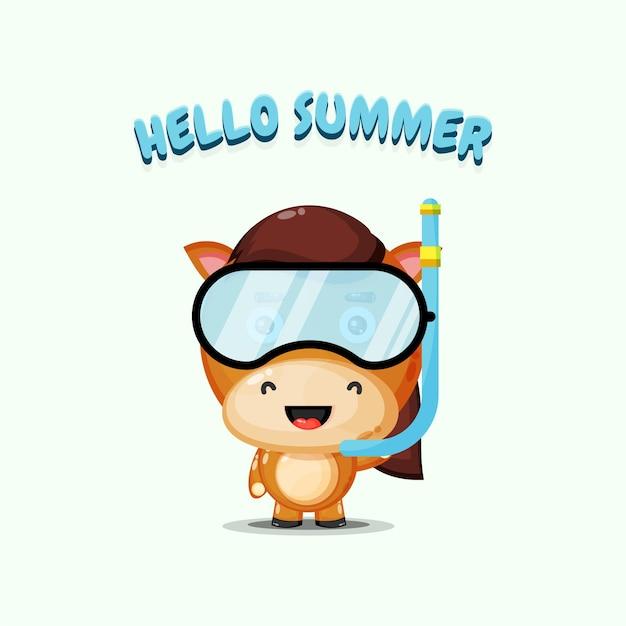 Cheval mignon portant des vêtements de plongée avec des salutations d'été