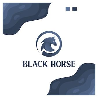 Cheval noir, sport, puissance, inspiration de conception de logo