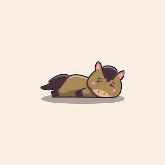 Cheval paresseux ennuyé mignon kawaii dessiné à la main