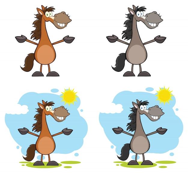 Cheval personnage de dessin animé mascotte.