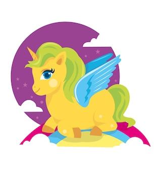 Cheval de poney coloré souriant