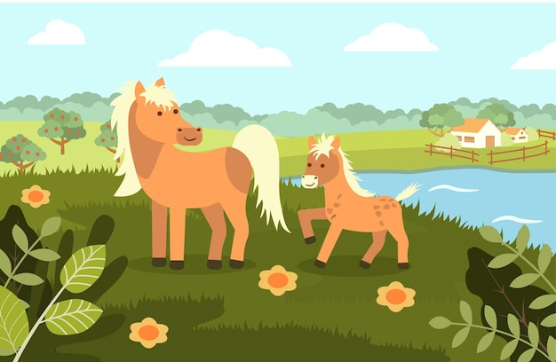 Un cheval avec un poulain sur le fond d'un paysage rural dans un style plat.