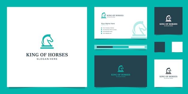 Cheval royal élégant avec un design graphique élégant et un logo de conception de luxe d'inspiration de carte de visite