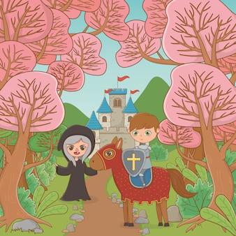 Cheval de sorcière et chevalier de conte de fées