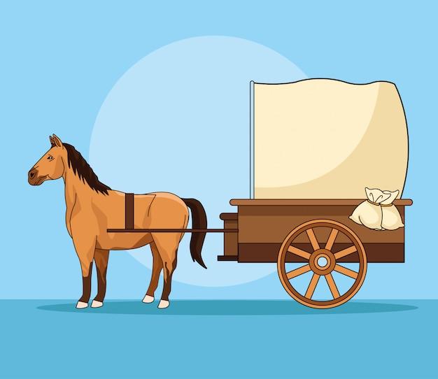 Cheval avec véhicule de calèche antique
