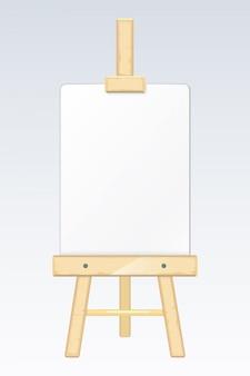 Chevalet, bureau de peinture, planche à dessin avec une toile blanche vierge