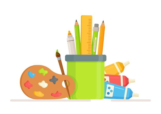 Chevalet de fournitures d'art avec tubes de peinture sur toile, pinceaux, crayon et palette d'aquarelle
