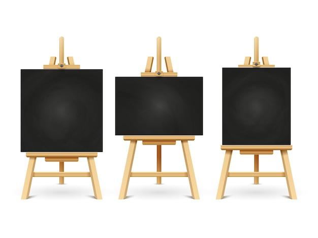 Chevalets de craie de bois ou tableaux d'art de peinture isolés sur blanc