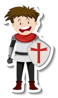 Chevalier en armure avec autocollant de dessin animé de bouclier