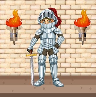 Chevalier en armure avec épée d'argent
