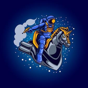 Chevalier astronaute tenant une arme à feu sur l'illustration de cheval