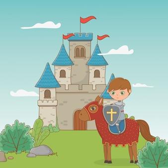 Chevalier et cheval de conte de fées