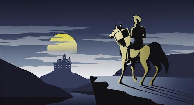 Chevalier à cheval debout sur la falaise regarde au château
