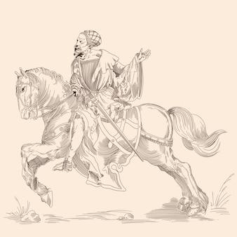 Chevalier à cheval. image isolée dans le style de la gravure médiévale.