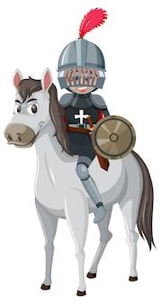 Chevalier à cheval personnage de dessin animé sur fond blanc