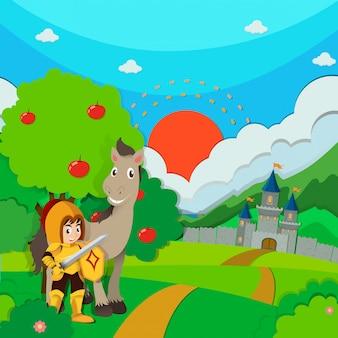 Chevalier et cheval sur la terre