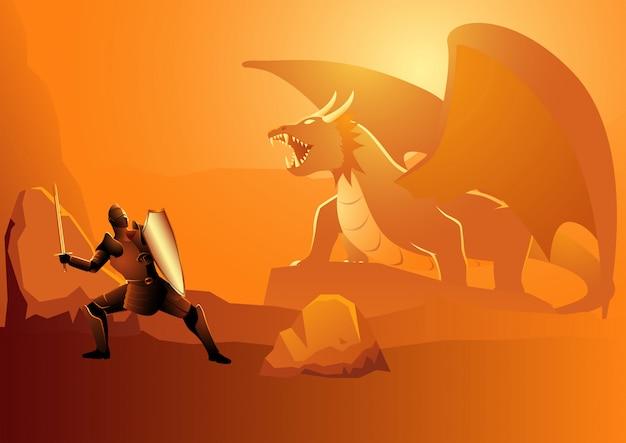 Chevalier combattant un dragon