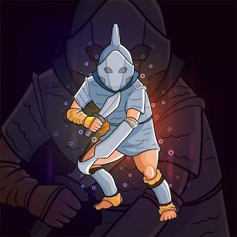 Le chevalier avec la conception du logo esport d'armure et d'épée d'illustration