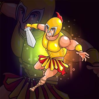 Le chevalier avec la conception de logo d'esport d'armure d'or d'illustration