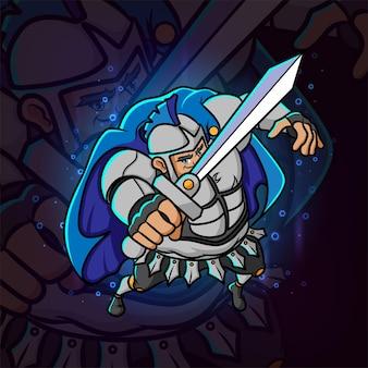 Le chevalier avec la conception de mascotte esport d'épée et d'armure d'illustration
