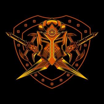 Chevalier, croix, épée, illustration
